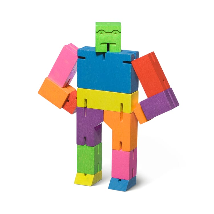 Holzfigur Cubebot, Bunt