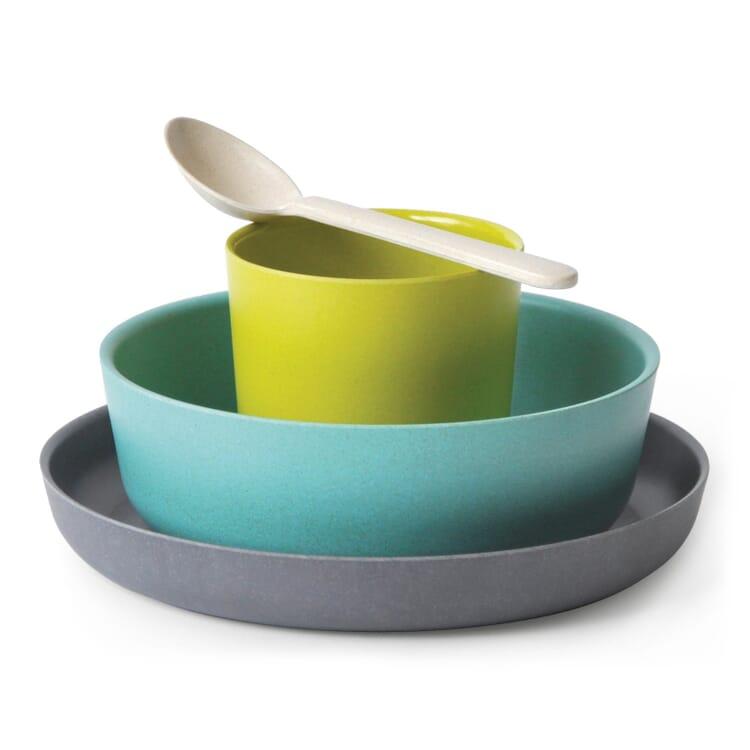 Kindergeschirr-Set Biobu, Grün/Blau/Grau