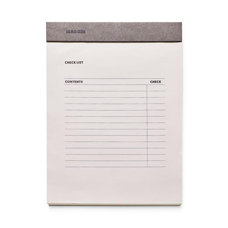 Tischblock, Checkliste