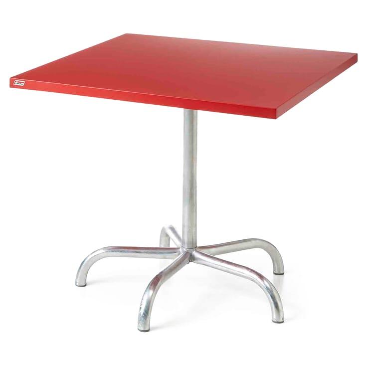Tisch Säntis, quadratisch, Signalrot RAL 3001