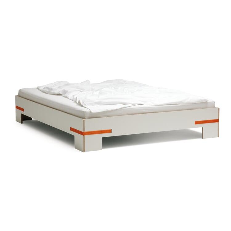 Bett Gurtbett weiß 140x200cm Gurte orange