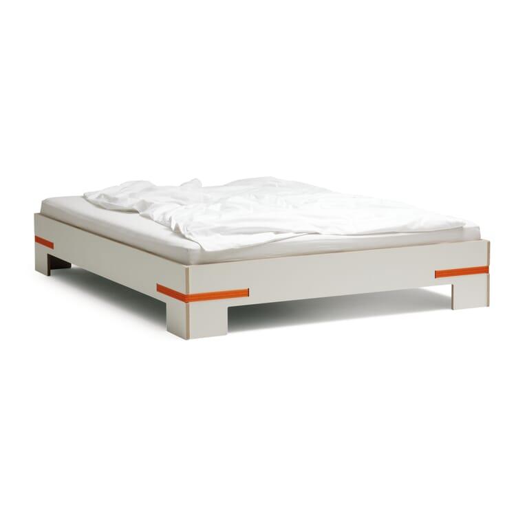 Bett Gurtbett weiß, 140x200cm Gurte orange