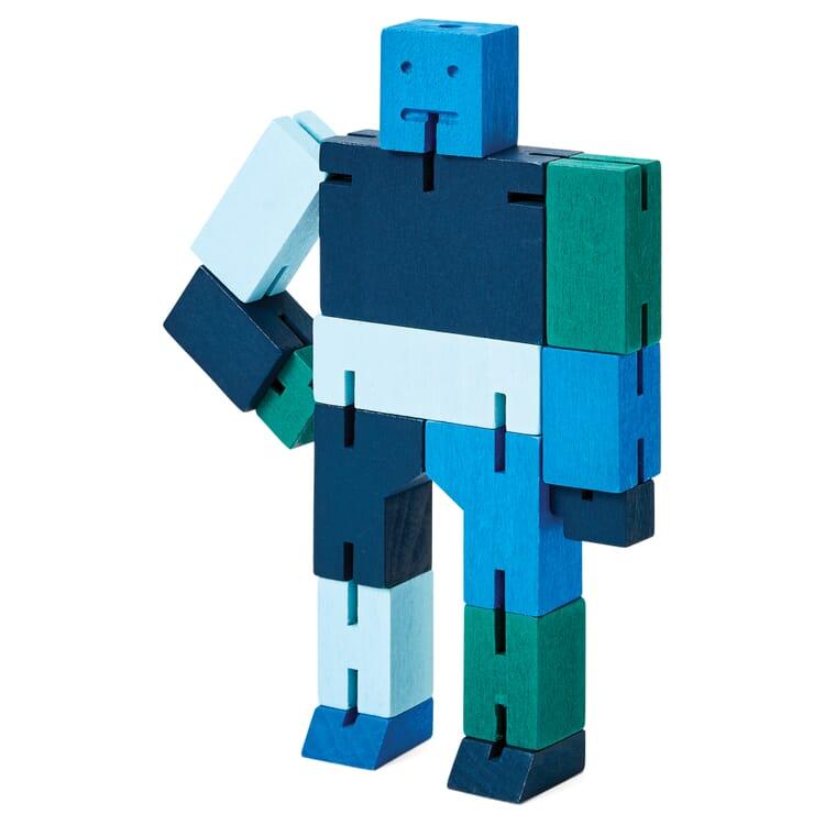 Holzfigur Cubebot, Blau
