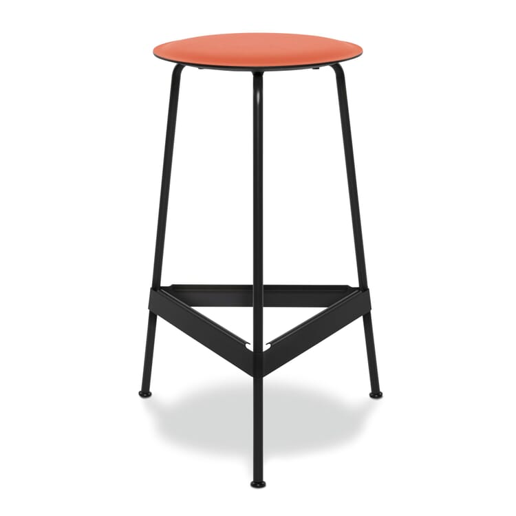 Barhocker Ravioli, klein, Sitz: Orange / Gestell: Schwarzgrau RAL 7021