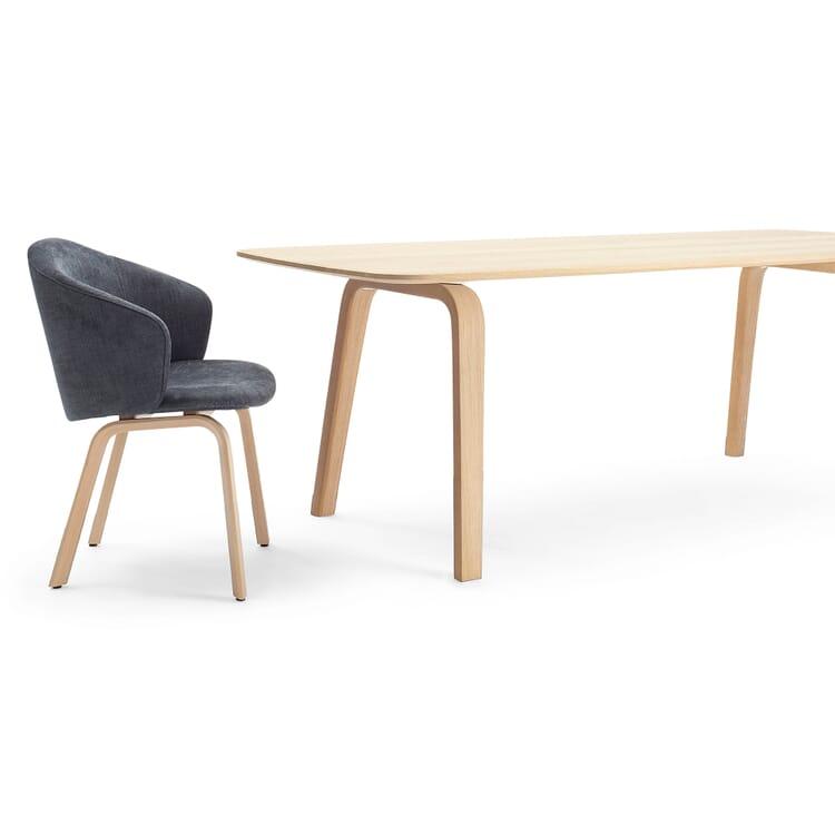 Set Tisch + 4 Armlehnstühle, Dunkelgrau