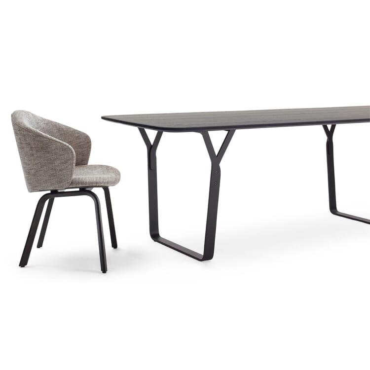 Set Tisch + 4 Armlehnstühle, Hellgrau