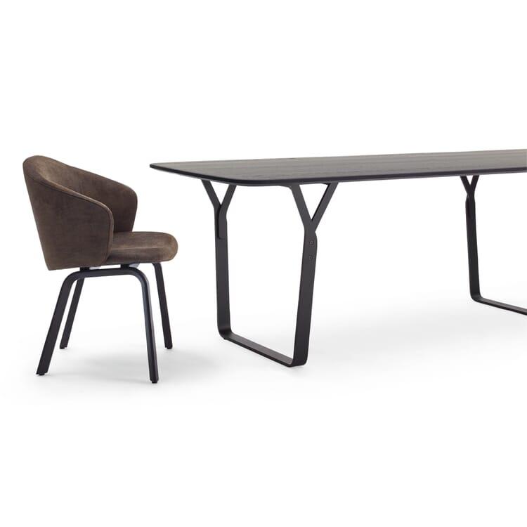 Set Tisch + 4 Armlehnstühle, Hellbraun