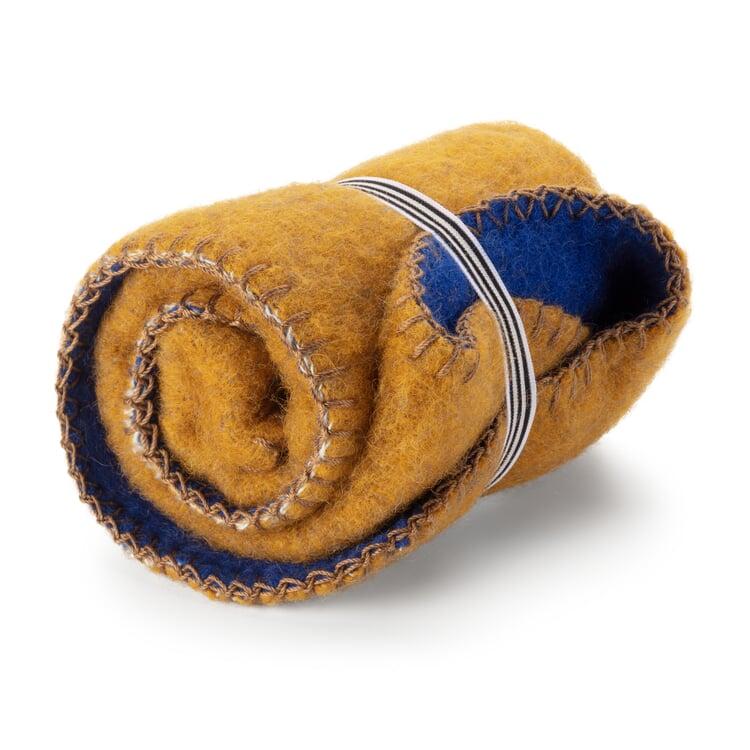 Sitzdecke Wolle Gelb-Blau